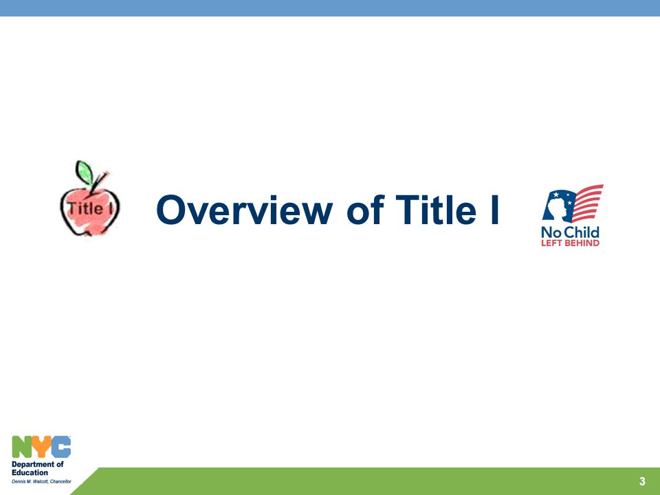 Overview of Title I 3