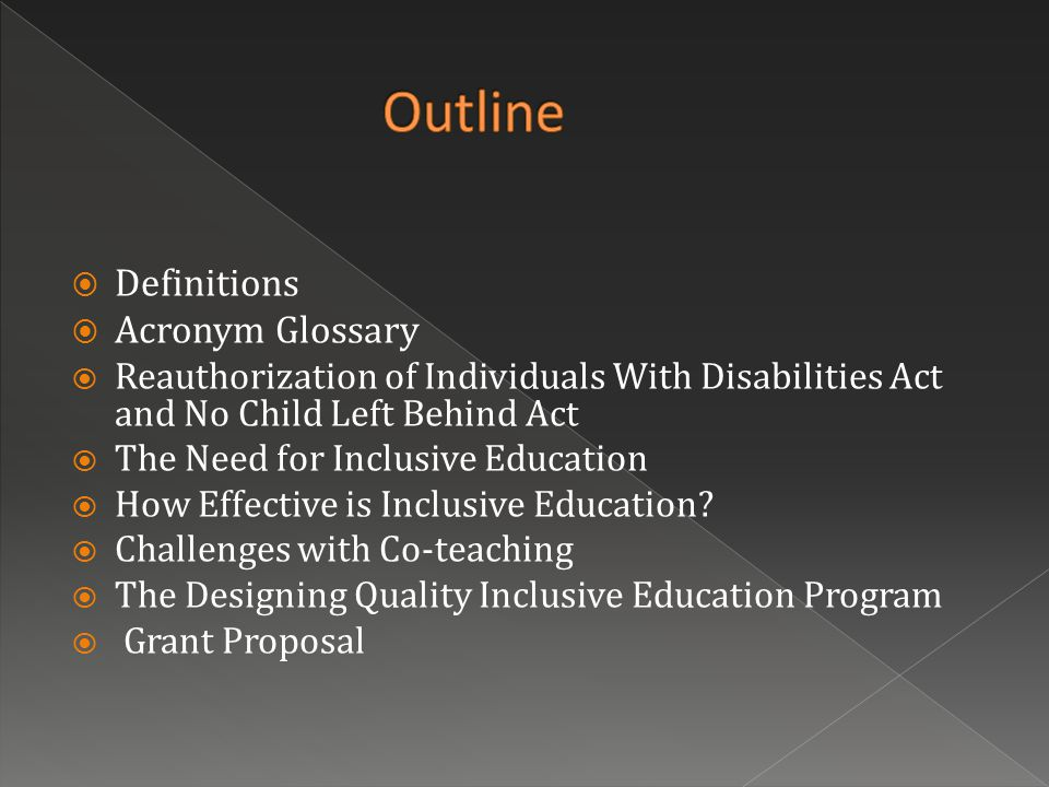  Definitions  Acronym Glossary  Reauthorization of Individuals With Disabilities Act and No Child Left Behind Act  The Need for Inclusive Education  How Effective is Inclusive Education.