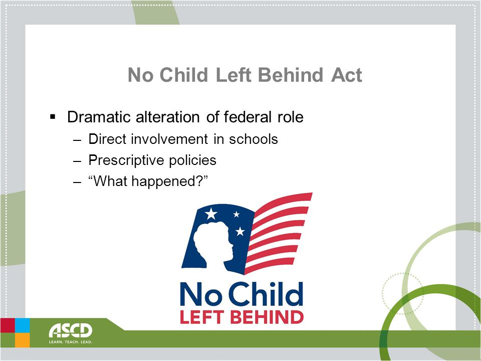 No Child Left Behind Act  Dramatic alteration of federal role –Direct involvement in schools –Prescriptive policies – What happened?