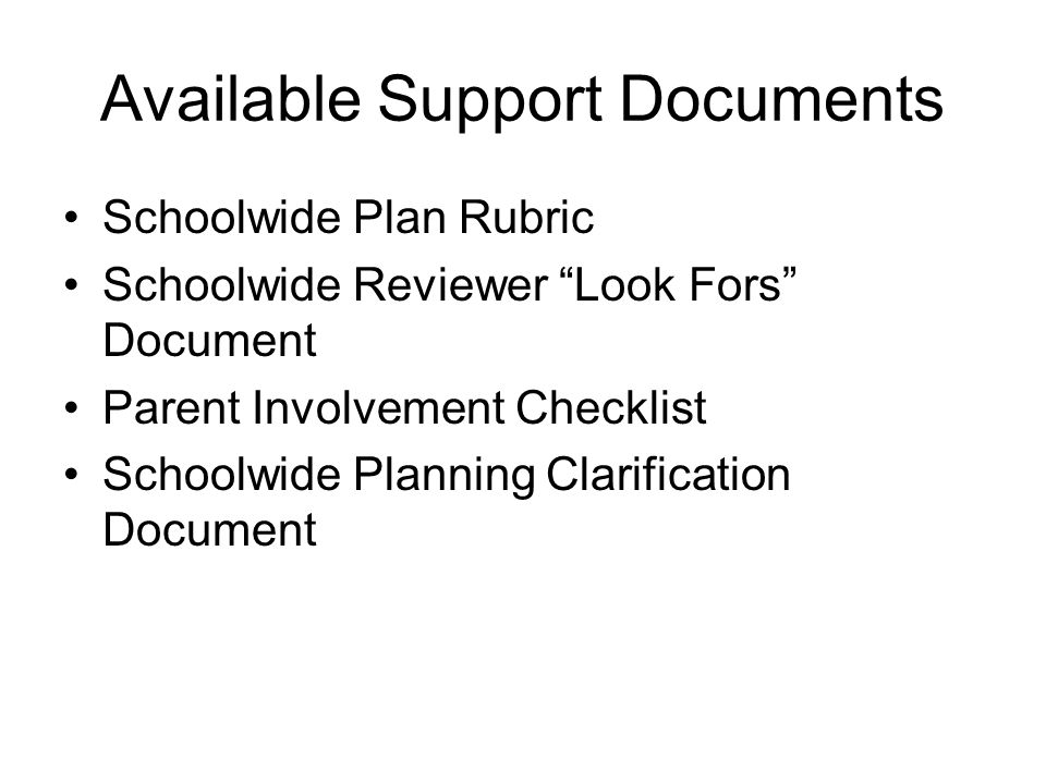"Available Support Documents Schoolwide Plan Rubric Schoolwide Reviewer ""Look Fors"" Document Parent Involvement Checklist Schoolwide Planning Clarifica"