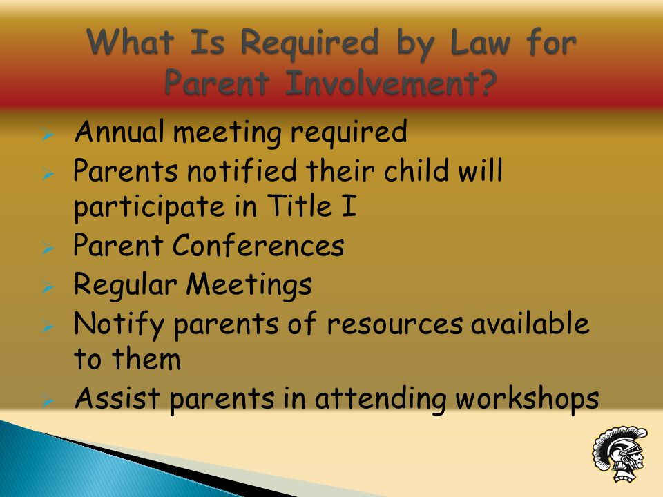  Annual meeting required  Parents notified their child will participate in Title I  Parent Conferences  Regular Meetings  Notify parents of resources available to them  Assist parents in attending workshops