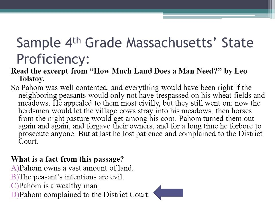 Sample 4 th Grade Massachusetts' State Proficiency: Read the excerpt from How Much Land Does a Man Need by Leo Tolstoy.