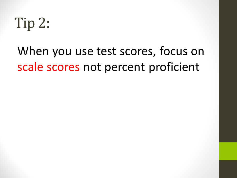 Tip 2: When you use test scores, focus on scale scores not percent proficient