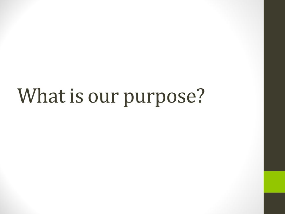 What is our purpose?