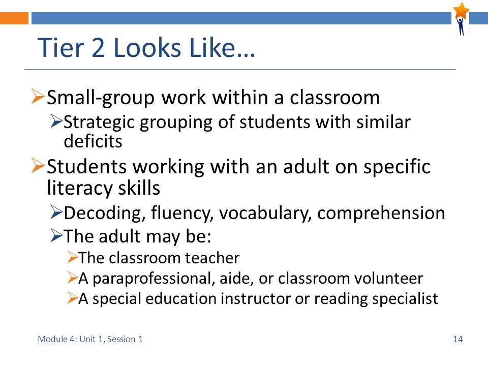 Module 4: Unit 1, Session 1 Tier 2 Looks Like…  Small-group work within a classroom  Strategic grouping of students with similar deficits  Students