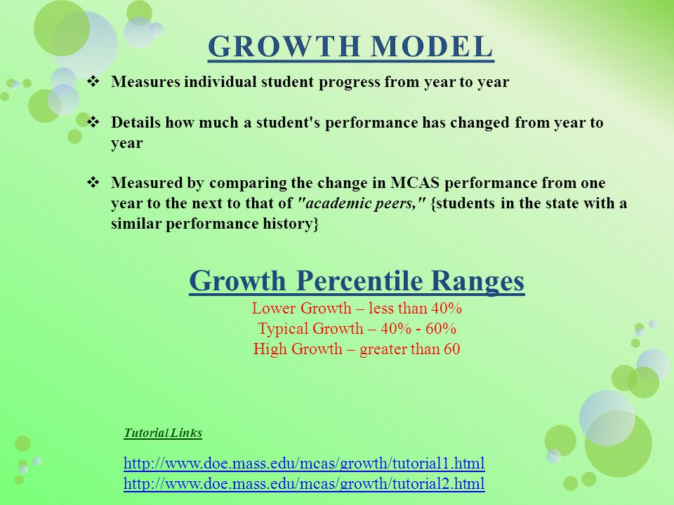  Measures individual student progress from year to year  Details how much a student s performance has changed from year to year  Measured by comparing the change in MCAS performance from one year to the next to that of academic peers, {students in the state with a similar performance history} Growth Percentile Ranges Lower Growth – less than 40% Typical Growth – 40% - 60% High Growth – greater than 60 Tutorial Links http://www.doe.mass.edu/mcas/growth/tutorial1.html http://www.doe.mass.edu/mcas/growth/tutorial2.html