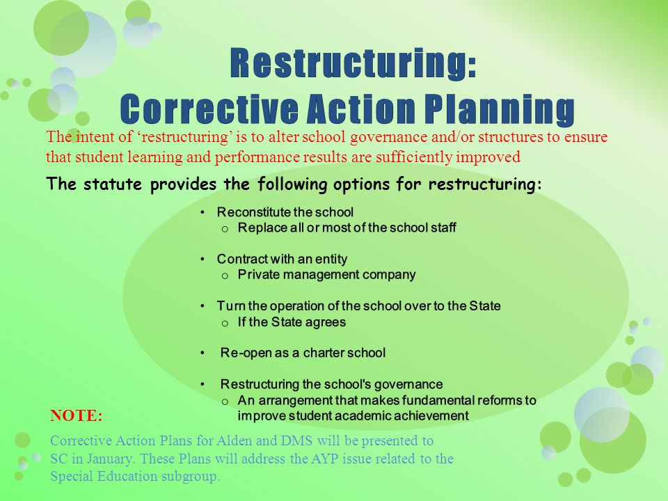 The intent of 'restructuring' is to alter school governance and/or structures to ensure that student learning and performance results are sufficiently improved The statute provides the following options for restructuring: NOTE: Corrective Action Plans for Alden and DMS will be presented to SC in January.