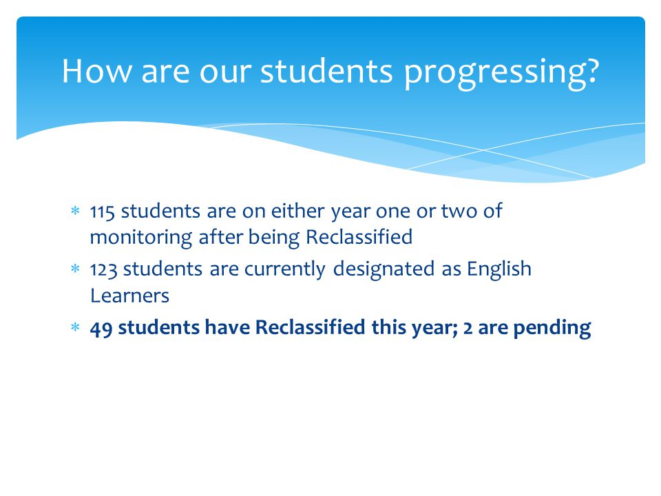  115 students are on either year one or two of monitoring after being Reclassified  123 students are currently designated as English Learners  49 students have Reclassified this year; 2 are pending How are our students progressing