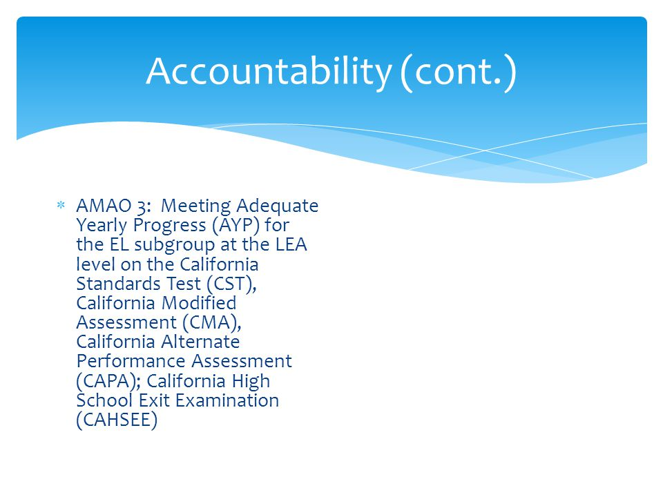 Accountability (cont.)  AMAO 3: Meeting Adequate Yearly Progress (AYP) for the EL subgroup at the LEA level on the California Standards Test (CST), California Modified Assessment (CMA), California Alternate Performance Assessment (CAPA); California High School Exit Examination (CAHSEE)