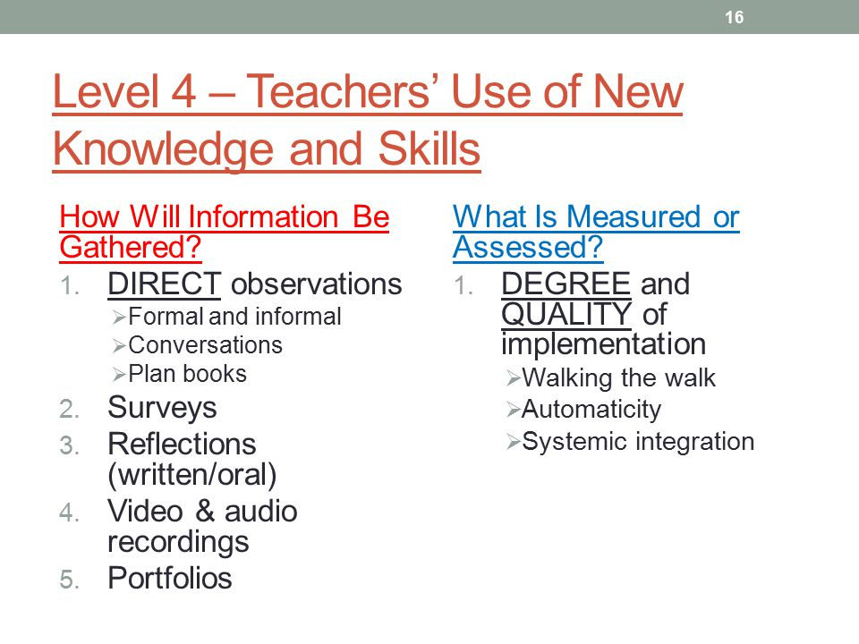 Level 4 – Teachers' Use of New Knowledge and Skills How Will Information Be Gathered.