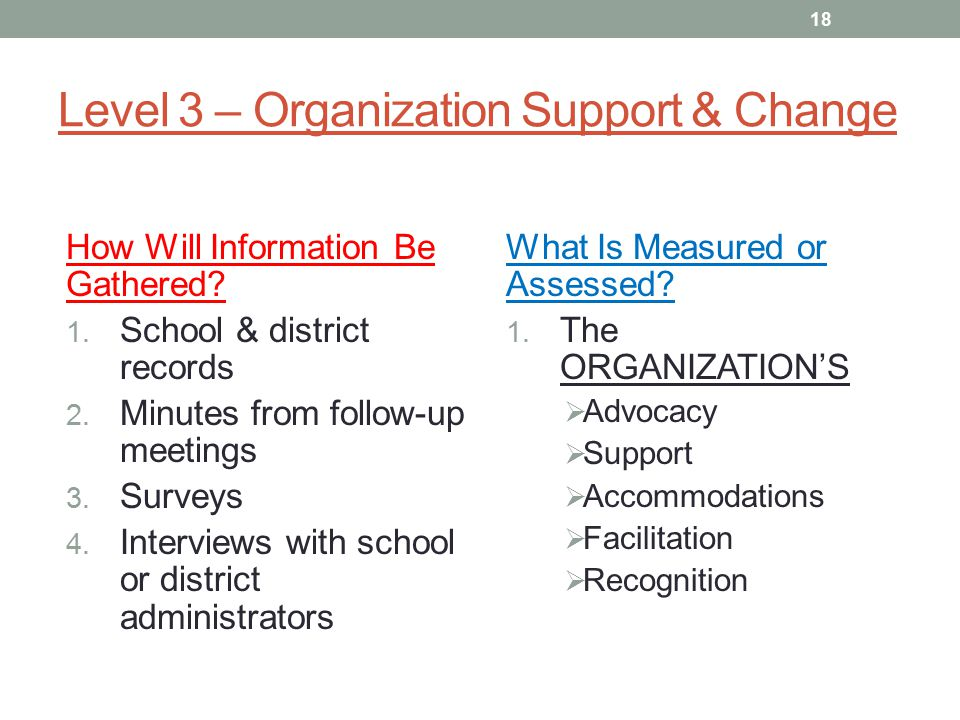 Level 3 – Organization Support & Change How Will Information Be Gathered.