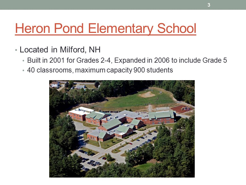 Heron Pond Elementary School Located in Milford, NH Built in 2001 for Grades 2-4, Expanded in 2006 to include Grade 5 40 classrooms, maximum capacity 900 students 3