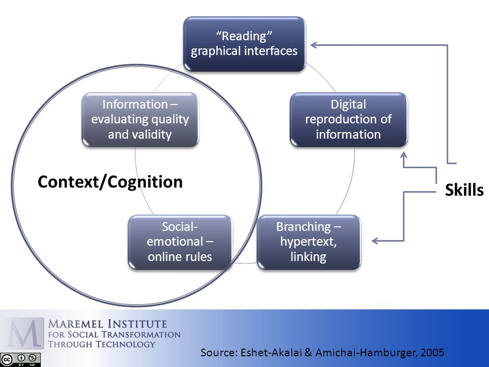 Reading graphical interfaces Digital reproduction of information Branching – hypertext, linking Social- emotional – online rules Information – evaluating quality and validity Context/Cognition Source: Eshet-Akalai & Amichai-Hamburger, 2005 Skills