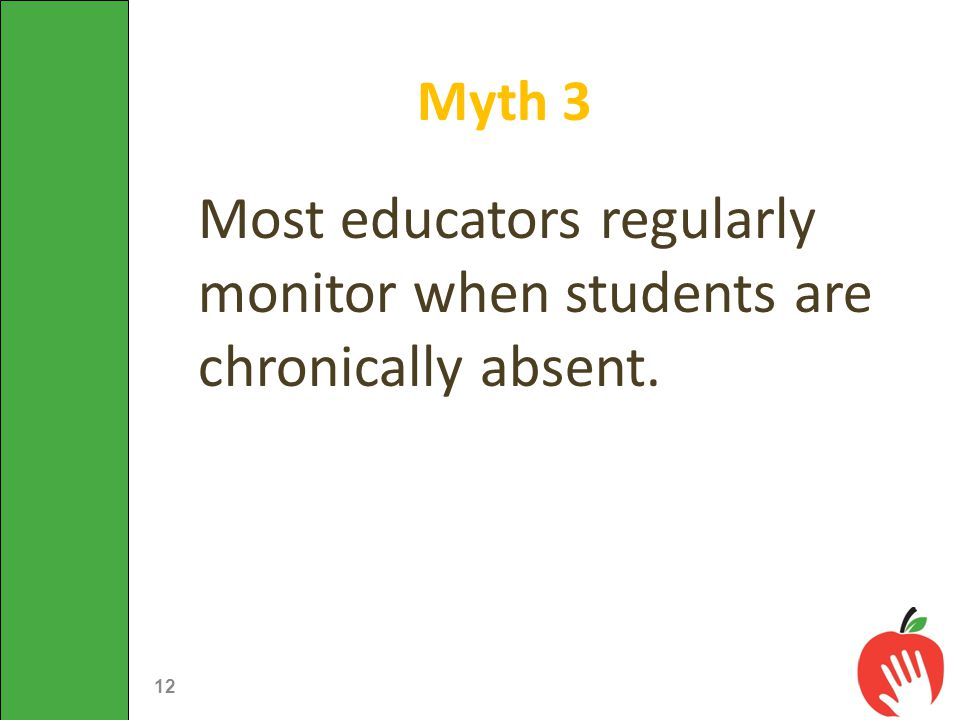 Most educators regularly monitor when students are chronically absent. Myth 3 12