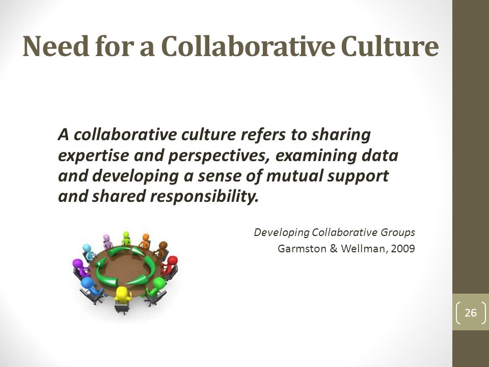 Need for a Collaborative Culture 26 A collaborative culture refers to sharing expertise and perspectives, examining data and developing a sense of mutual support and shared responsibility.