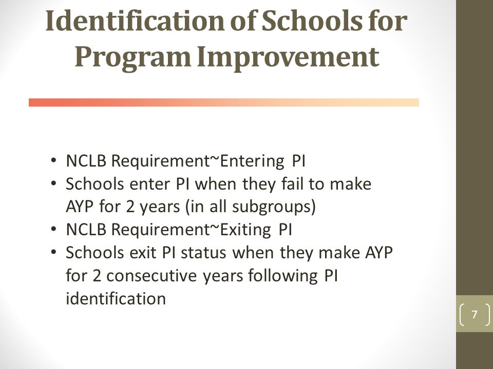 Identification of Schools for Program Improvement 7 NCLB Requirement~Entering PI Schools enter PI when they fail to make AYP for 2 years (in all subgroups) NCLB Requirement~Exiting PI Schools exit PI status when they make AYP for 2 consecutive years following PI identification