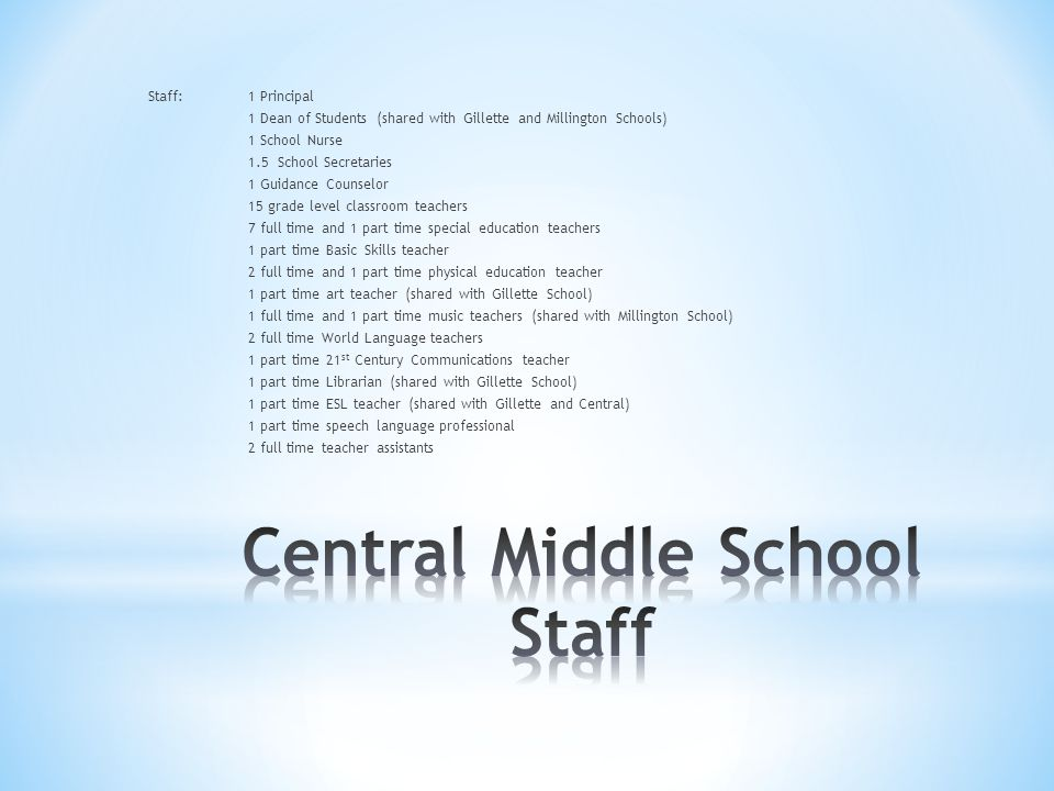 Staff:1 Principal 1 Dean of Students (shared with Gillette and Millington Schools) 1 School Nurse 1.5 School Secretaries 1 Guidance Counselor 15 grade level classroom teachers 7 full time and 1 part time special education teachers 1 part time Basic Skills teacher 2 full time and 1 part time physical education teacher 1 part time art teacher (shared with Gillette School) 1 full time and 1 part time music teachers (shared with Millington School) 2 full time World Language teachers 1 part time 21 st Century Communications teacher 1 part time Librarian (shared with Gillette School) 1 part time ESL teacher (shared with Gillette and Central) 1 part time speech language professional 2 full time teacher assistants