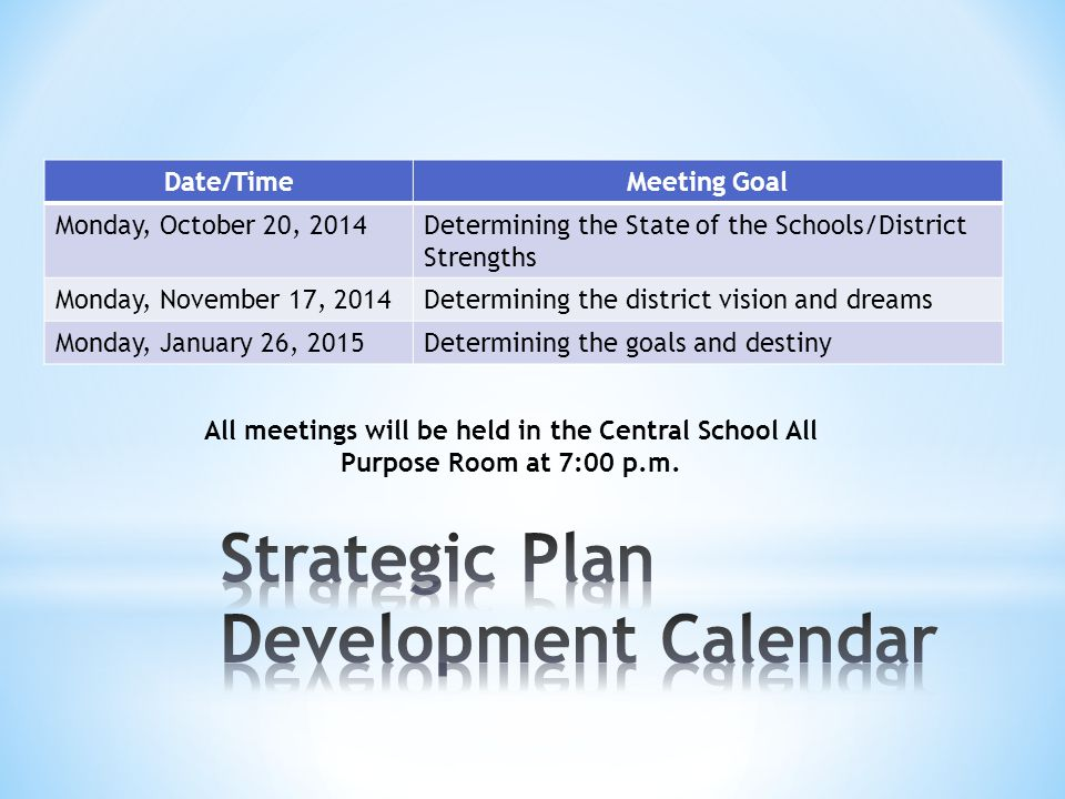 Date/TimeMeeting Goal Monday, October 20, 2014Determining the State of the Schools/District Strengths Monday, November 17, 2014Determining the district vision and dreams Monday, January 26, 2015Determining the goals and destiny All meetings will be held in the Central School All Purpose Room at 7:00 p.m.