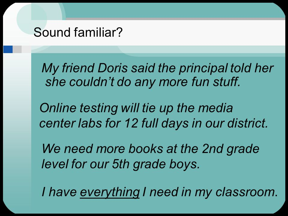 Sound familiar? My friend Doris said the principal told her she couldn't do any more fun stuff. Online testing will tie up the media center labs for 1