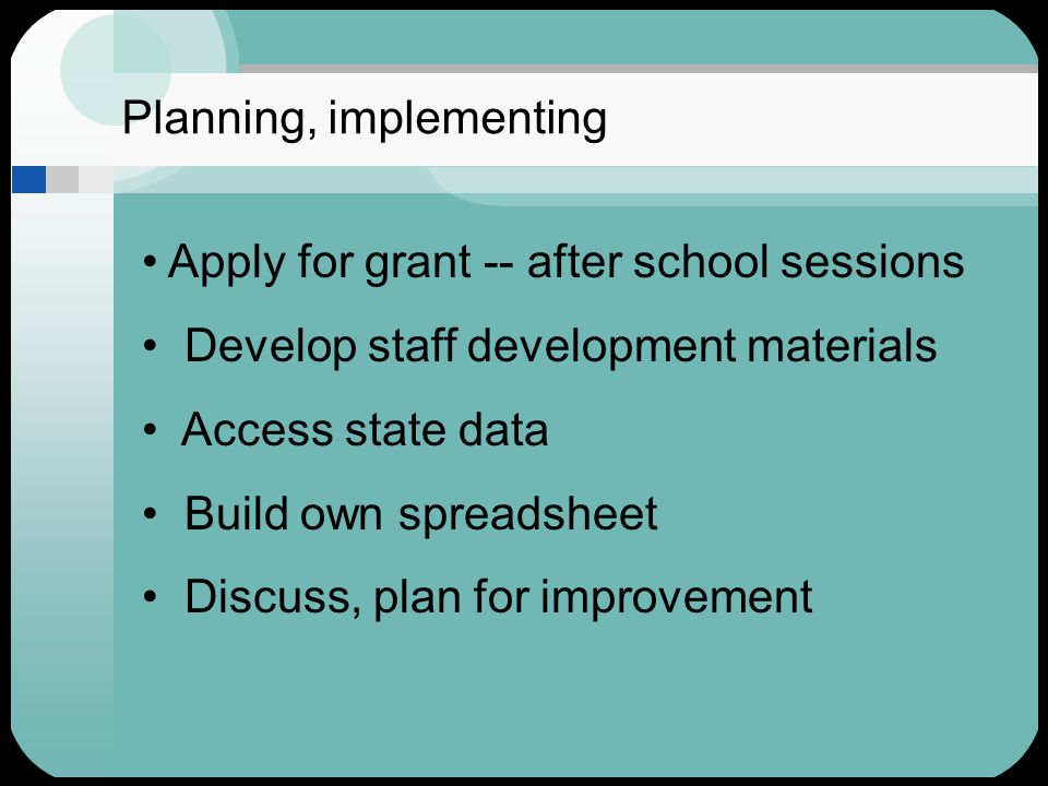 Planning, implementing Apply for grant -- after school sessions Develop staff development materials Access state data Build own spreadsheet Discuss, plan for improvement