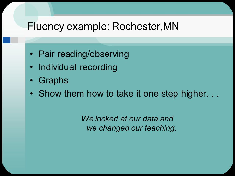 Fluency example: Rochester,MN Pair reading/observing Individual recording Graphs Show them how to take it one step higher... We looked at our data and