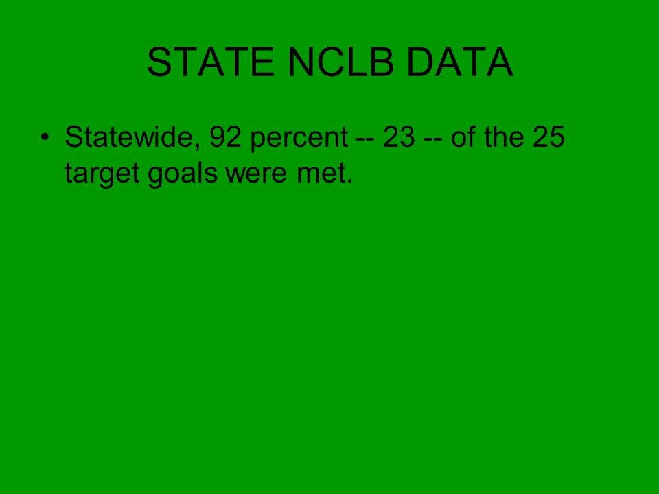 STATE NCLB DATA Statewide, 92 percent -- 23 -- of the 25 target goals were met.