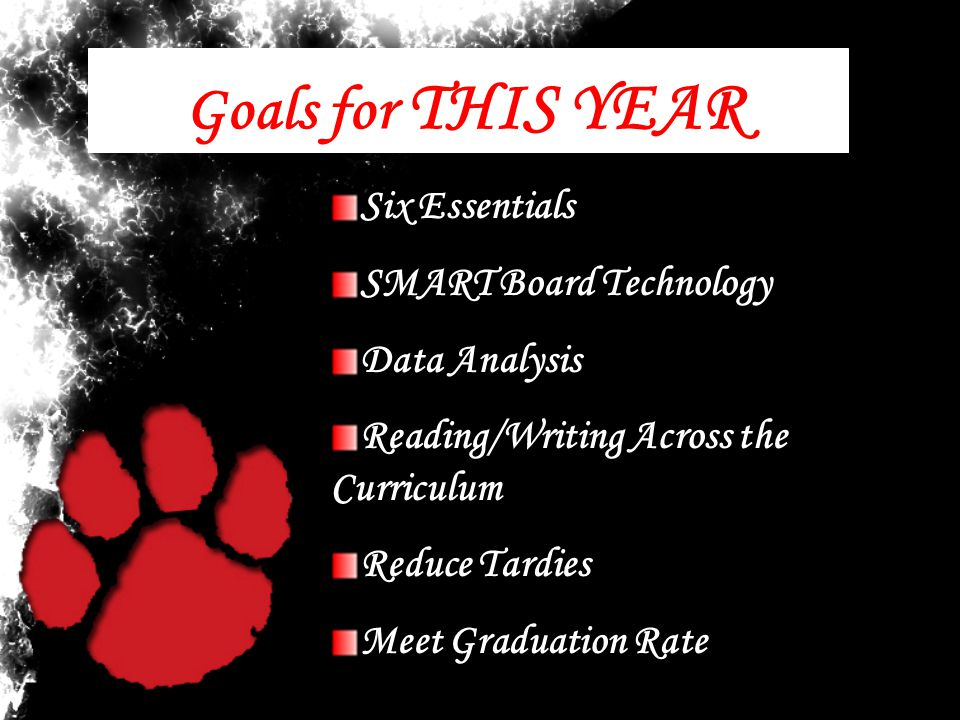 Goals for THIS YEAR Six Essentials SMART Board Technology Data Analysis Reading/Writing Across the Curriculum Reduce Tardies Meet Graduation Rate