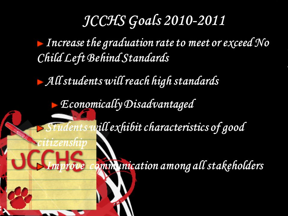 JCCHS Goals 2010-2011 Increase the graduation rate to meet or exceed No Child Left Behind Standards All students will reach high standards Economically Disadvantaged Students will exhibit characteristics of good citizenship Improve communication among all stakeholders