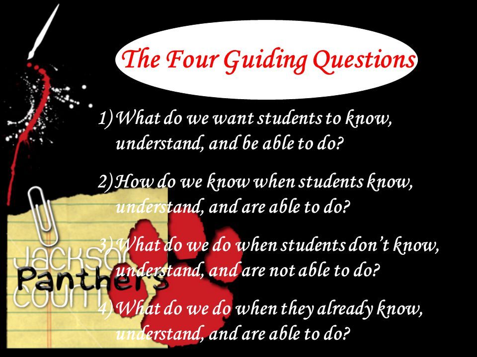 The Four Guiding Questions 1)What do we want students to know, understand, and be able to do.