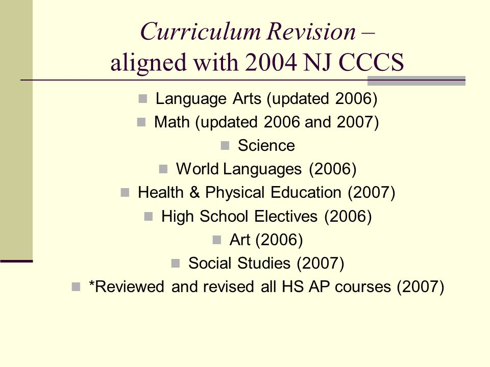 Curriculum Revision – aligned with 2004 NJ CCCS Language Arts (updated 2006) Math (updated 2006 and 2007) Science World Languages (2006) Health & Physical Education (2007) High School Electives (2006) Art (2006) Social Studies (2007) *Reviewed and revised all HS AP courses (2007)