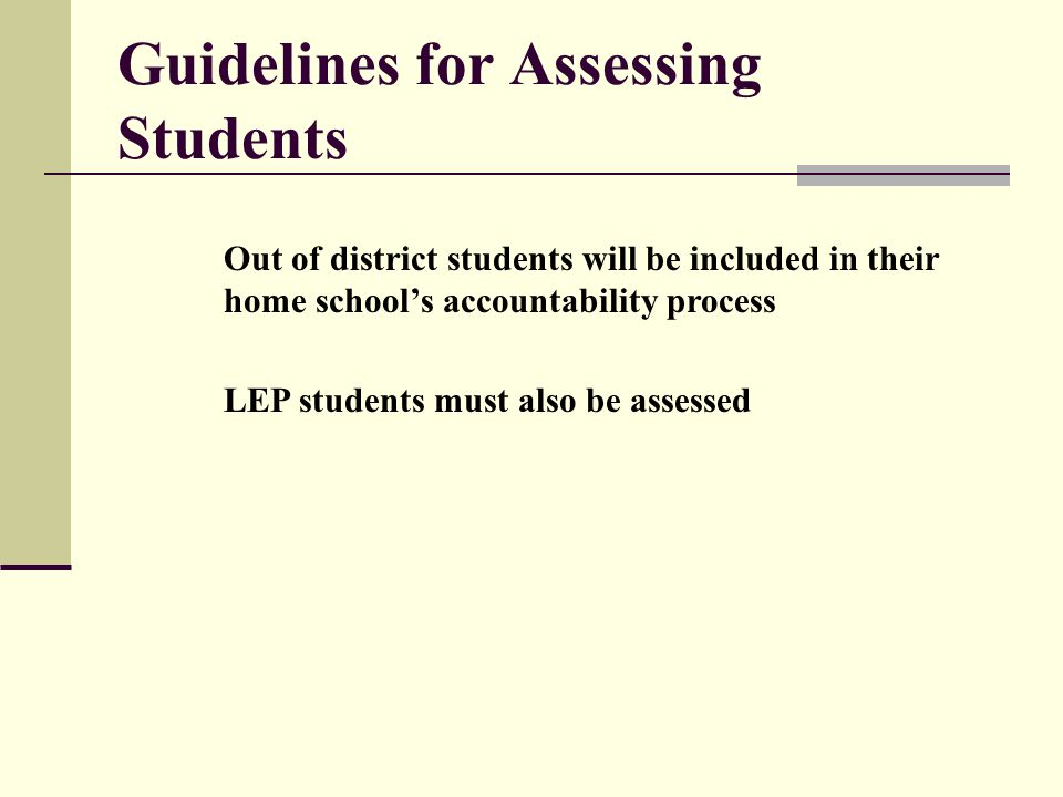 Guidelines for Assessing Students Out of district students will be included in their home school's accountability process LEP students must also be assessed