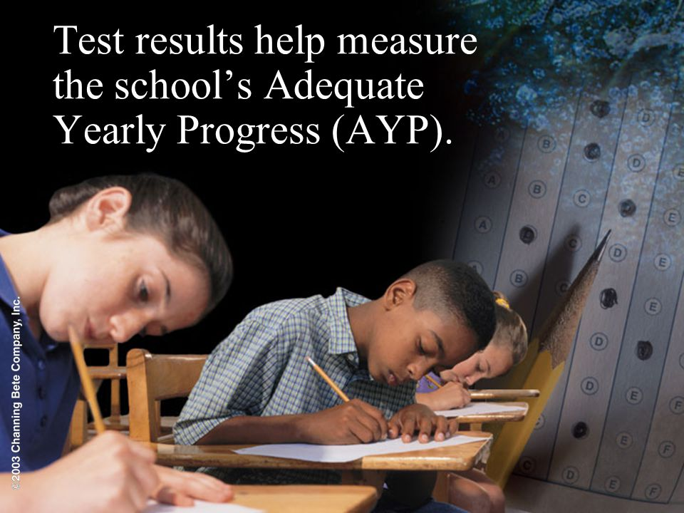 Test results help measure the school's Adequate Yearly Progress (AYP).