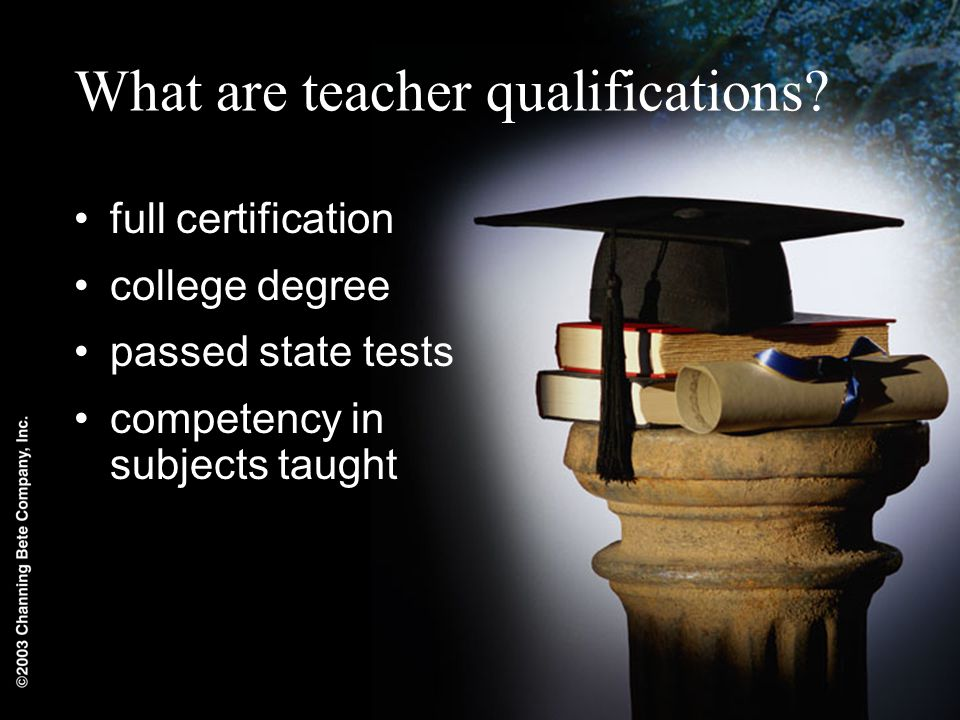 What are teacher qualifications.