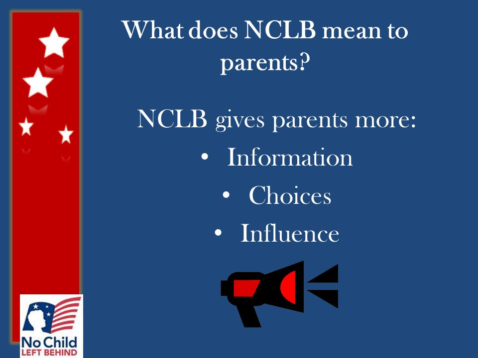 What does NCLB mean to parents NCLB gives parents more: Information Choices Influence