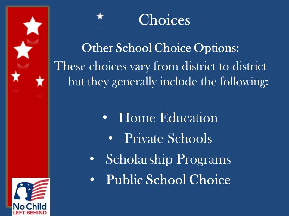 Choices Other School Choice Options: These choices vary from district to district but they generally include the following: Home Education Private Sch