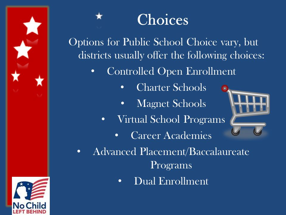 Options for Public School Choice vary, but districts usually offer the following choices: Controlled Open Enrollment Charter Schools Magnet Schools Virtual School Programs Career Academies Advanced Placement/Baccalaureate Programs Dual Enrollment Choices