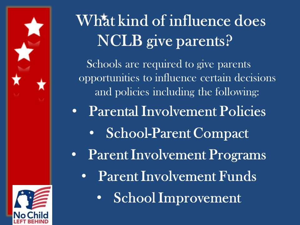 What kind of influence does NCLB give parents.