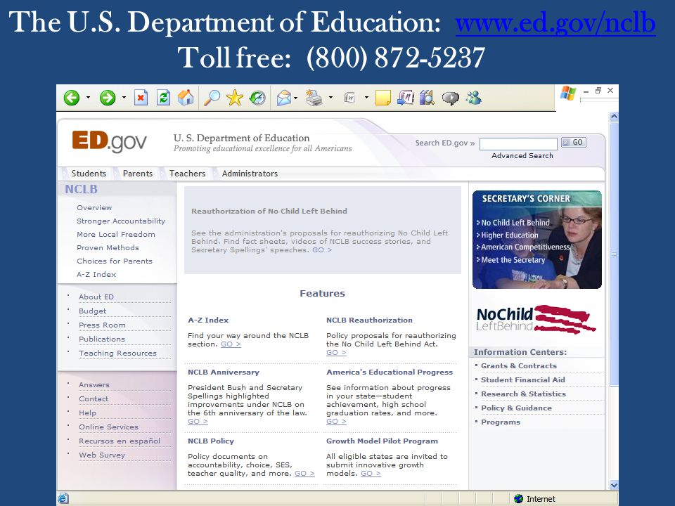 The U.S. Department of Education: www.ed.gov/nclbwww.ed.gov/nclb Toll free: (800) 872-5237