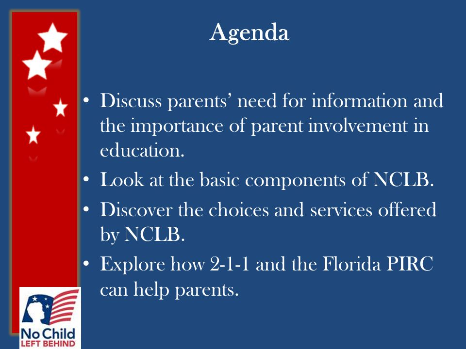 Agenda Discuss parents' need for information and the importance of parent involvement in education.