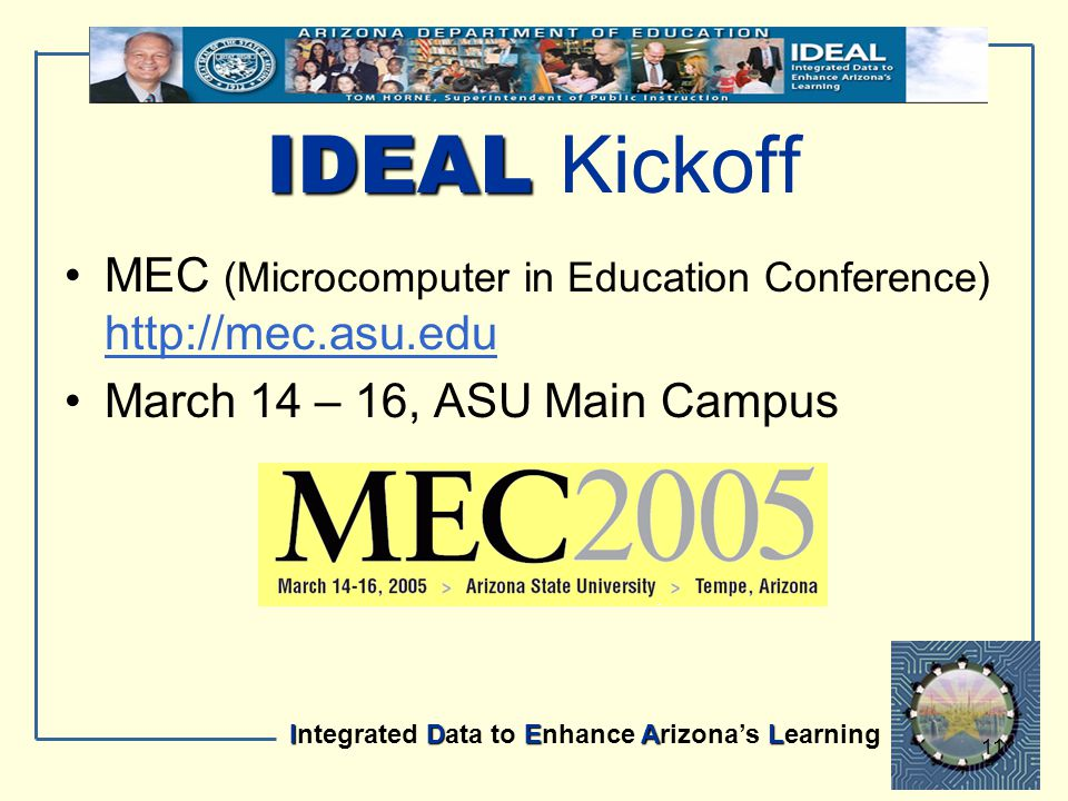 IDEAL Integrated Data to Enhance Arizona's Learning 11 IDEAL IDEAL Kickoff MEC (Microcomputer in Education Conference) http://mec.asu.edu http://mec.a
