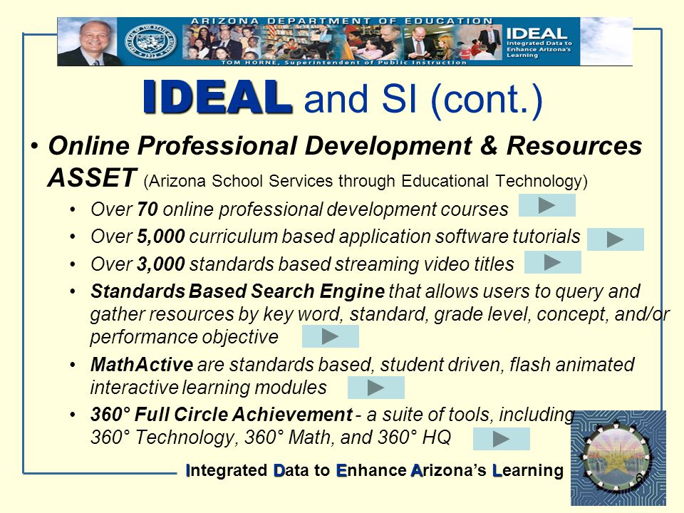 IDEAL Integrated Data to Enhance Arizona's Learning 6 Online Professional Development & Resources ASSET (Arizona School Services through Educational T
