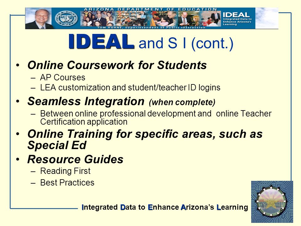 IDEAL Integrated Data to Enhance Arizona's Learning 8 Online Coursework for Students –AP Courses –LEA customization and student/teacher ID logins Seam