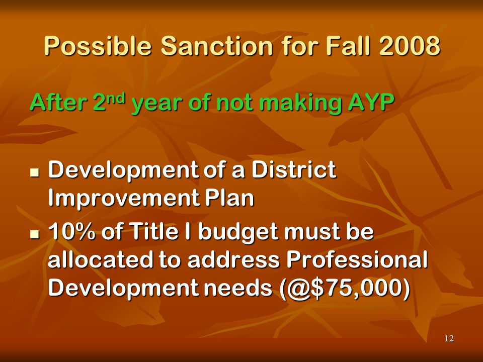 12 Possible Sanction for Fall 2008 After 2 nd year of not making AYP Development of a District Improvement Plan Development of a District Improvement Plan 10% of Title I budget must be allocated to address Professional Development needs (@$75,000) 10% of Title I budget must be allocated to address Professional Development needs (@$75,000)