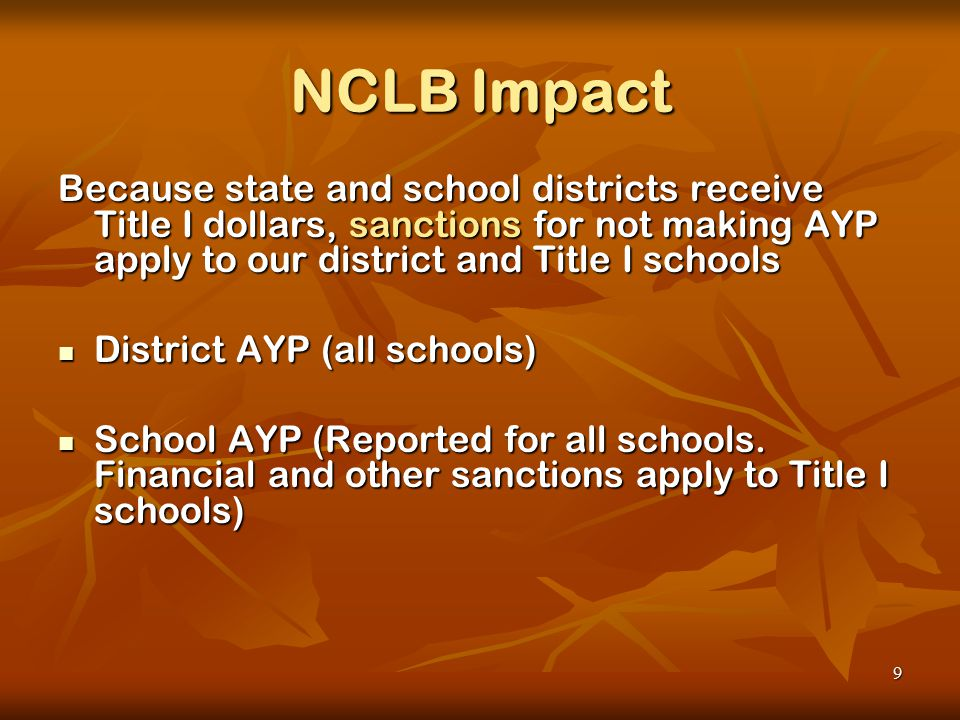 9 NCLB Impact Because state and school districts receive Title I dollars, sanctions for not making AYP apply to our district and Title I schools District AYP (all schools) District AYP (all schools) School AYP (Reported for all schools.