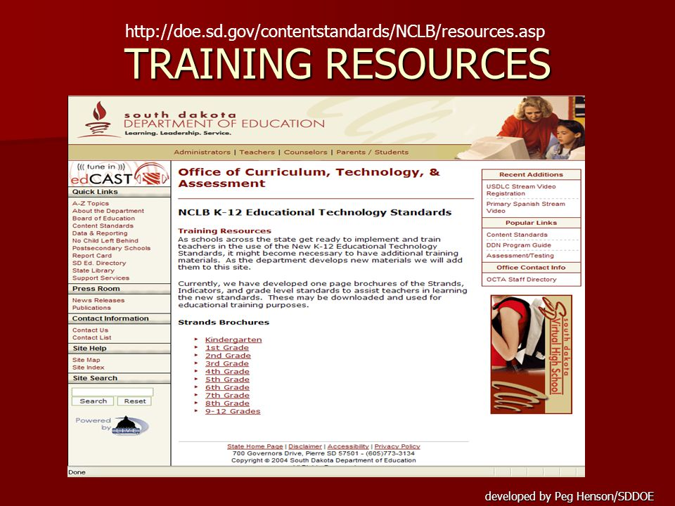 developed by Peg Henson/SDDOE TRAINING RESOURCES http://doe.sd.gov/contentstandards/NCLB/resources.asp