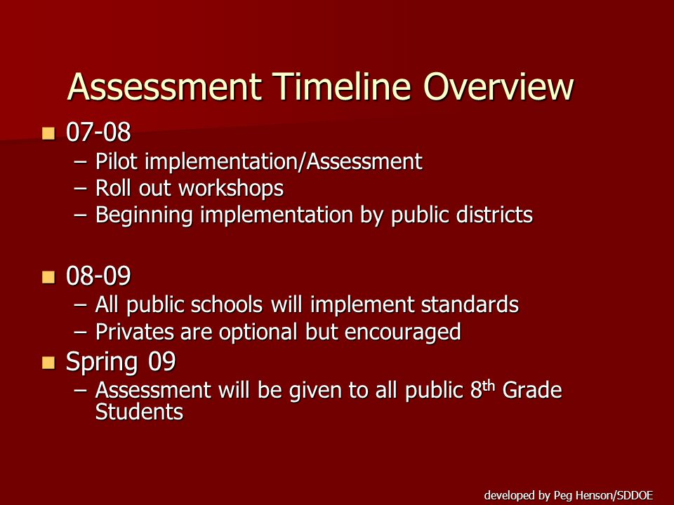 Assessment Timeline Overview 07-08 07-08 –Pilot implementation/Assessment –Roll out workshops –Beginning implementation by public districts 08-09 08-09 –All public schools will implement standards –Privates are optional but encouraged Spring 09 Spring 09 –Assessment will be given to all public 8 th Grade Students
