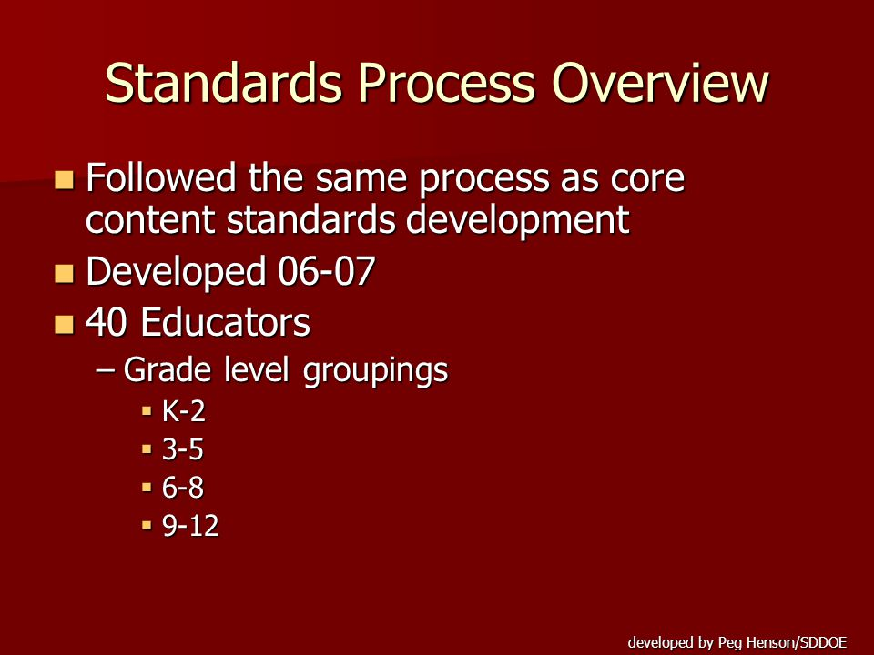 developed by Peg Henson/SDDOE Standards Process Overview Developed Strands (5) Big ideas Developed Strands (5) Big ideas Developed Indicators for each strand Developed Indicators for each strand ––essential understandings that will deepen k-12 Created standards at each grade level Created standards at each grade level Vertical aligned Vertical aligned –K-12 Board Approved July 2007 Board Approved July 2007