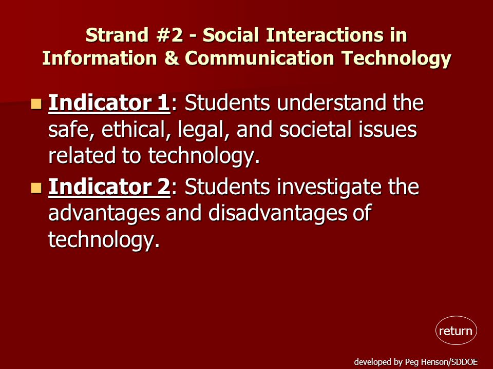 developed by Peg Henson/SDDOE Strand #3 - Information & Communication Technology Tools Indicator 1: Students recognize and demonstrate skills in operating technological systems.