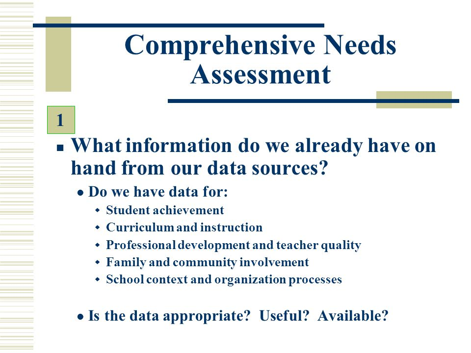 Comprehensive Needs Assessment What information do we already have on hand from our data sources? Do we have data for:  Student achievement  Curricu