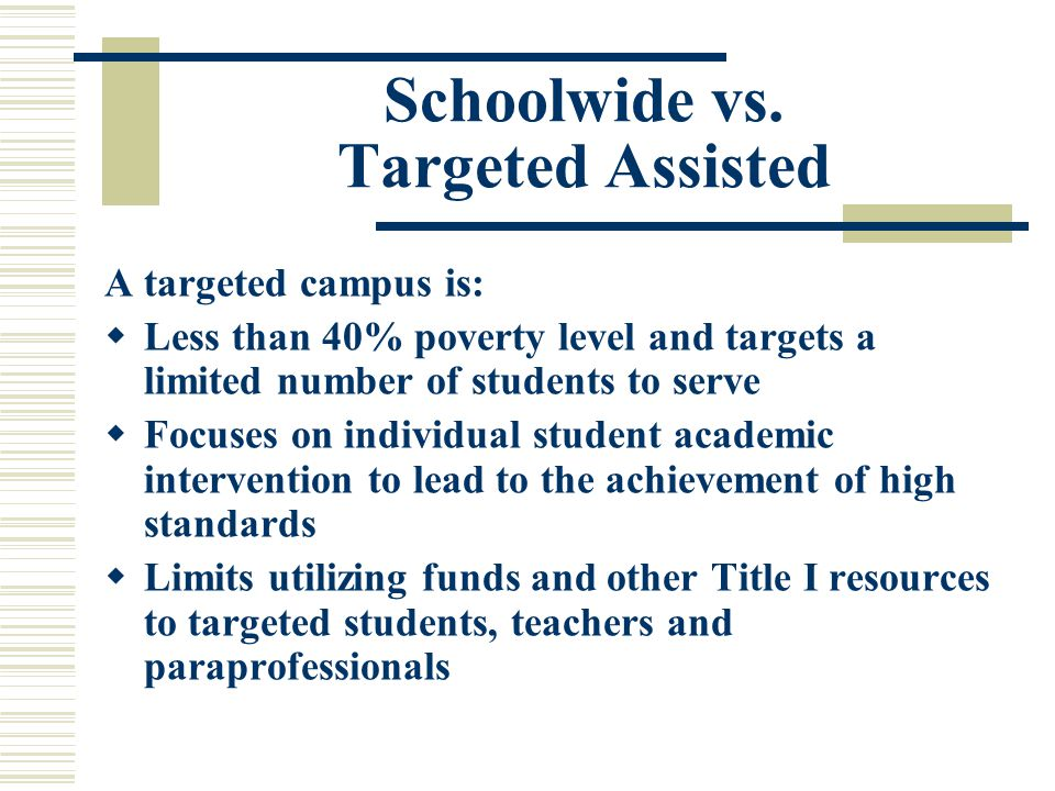 What is a Title I Schoolwide Program.